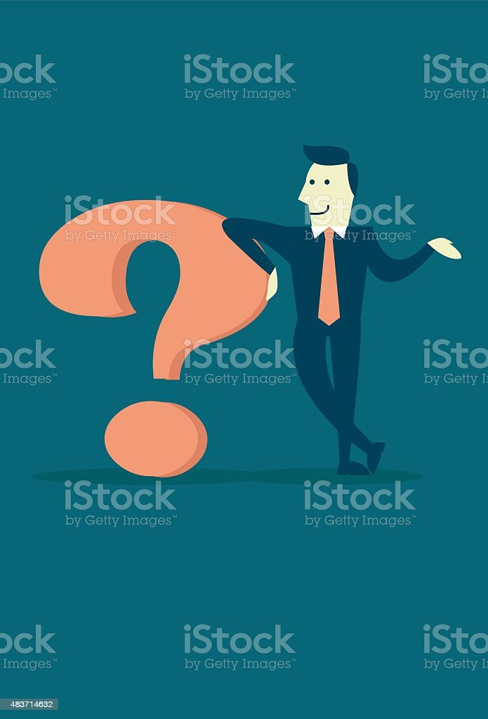 Business Man Explaining a Purpose With a Reason vector art illustration