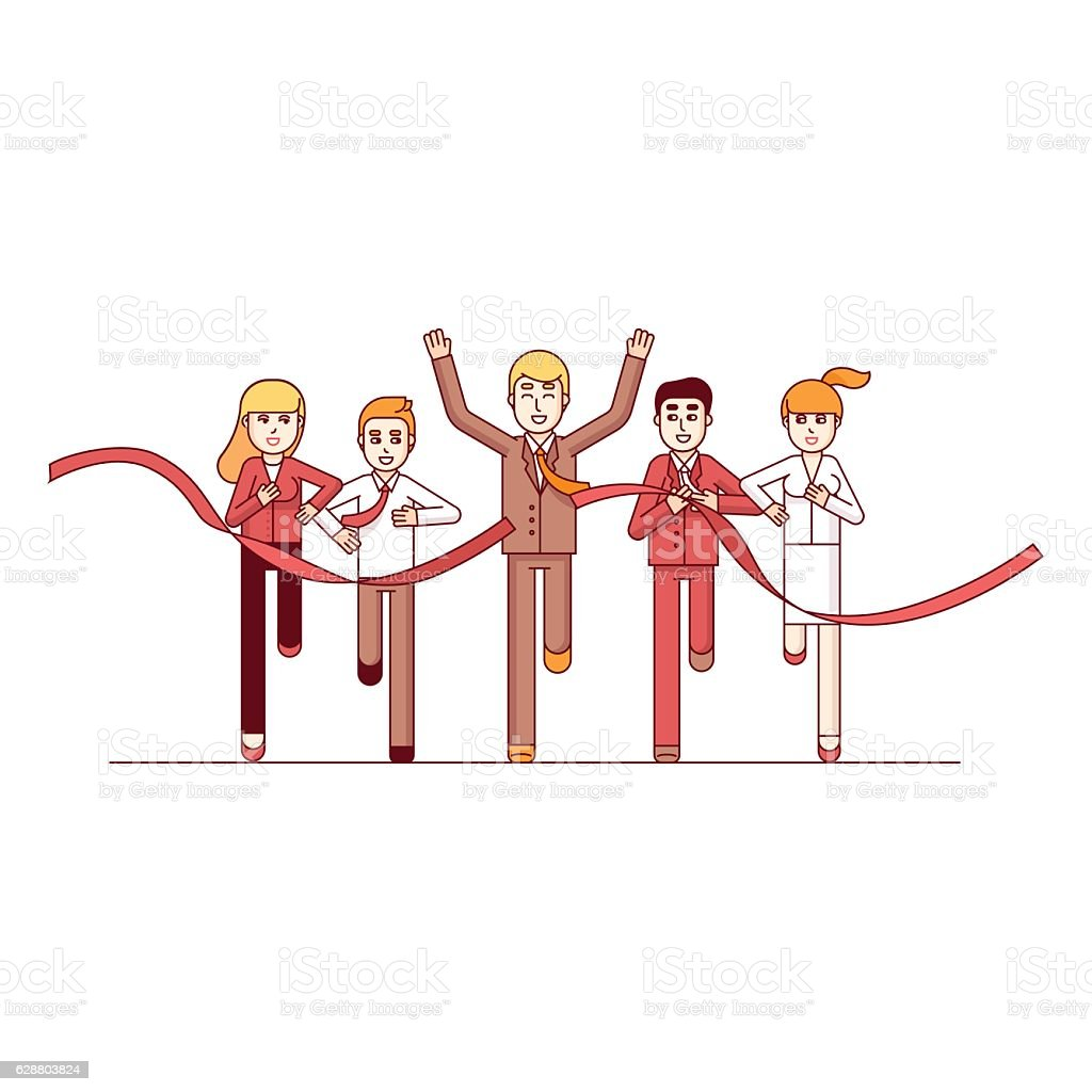 Business man finishing first in a market race vector art illustration