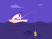 Business Man Fishing with Dollar Sign like Bait. Success Finance Growth Strategy. Manager or Office Employee Earning Money Concept Catching Fish in Opportunities Ocean Cartoon Flat Vector Illustration