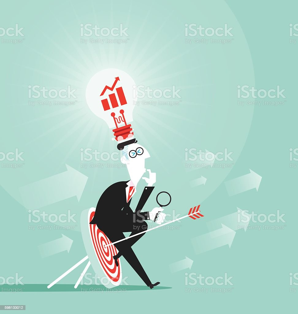 Business man focused on target vector art illustration