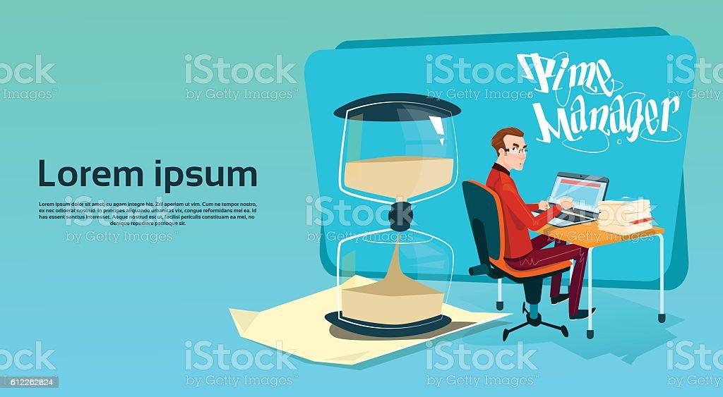 Business Man Freelancer Working Laptop Computer Sand Watch