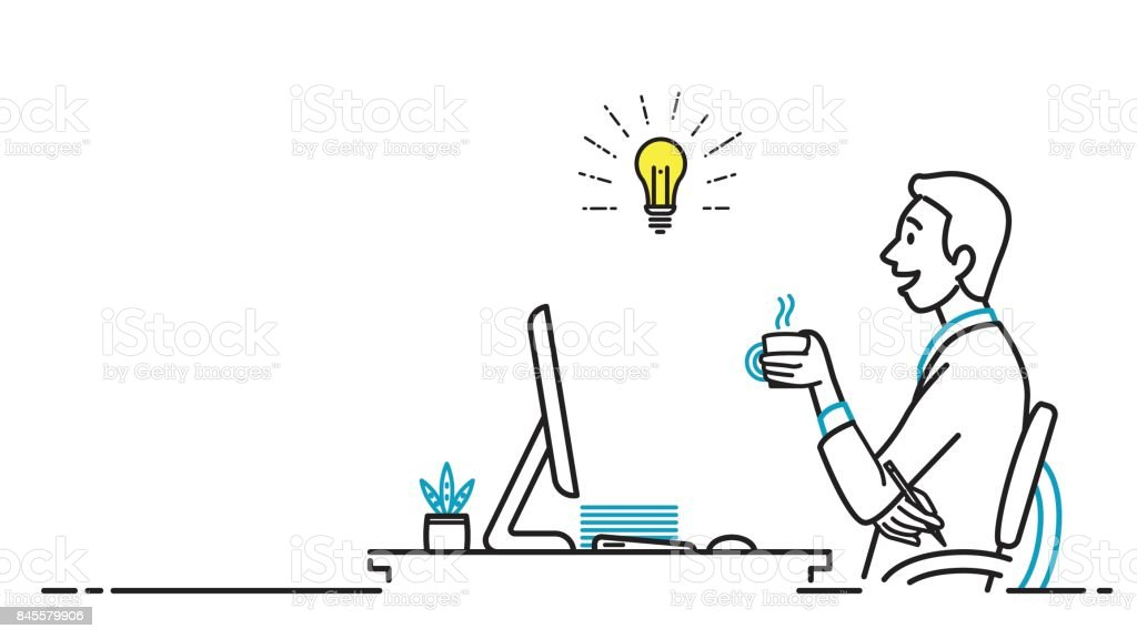 Business man getting idea at workplace vector art illustration