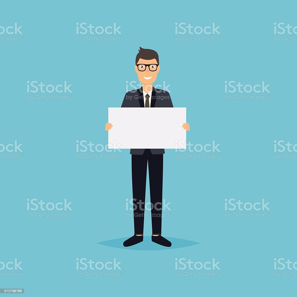 Business man giving presentation with white empty banners. Busin vector art illustration