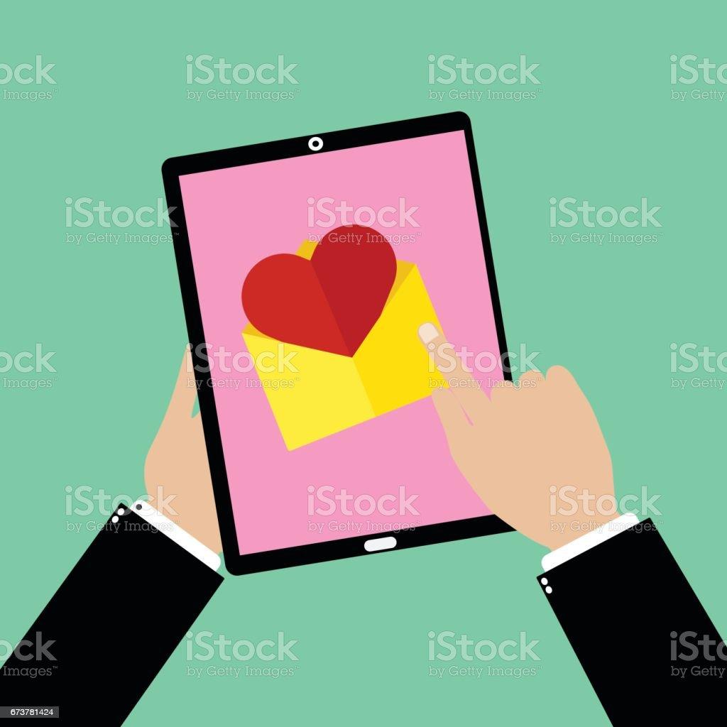 Bir tablet smartphone noktası ile tutarak ve dokunaklı bir aşk e-posta iş adam el. Vektör çizim düz tasarım Sevgililer günü aşk kavramı. royalty-free bir tablet smartphone noktası ile tutarak ve dokunaklı bir aşk eposta iş adam el vektör çizim düz tasarım sevgililer günü aşk kavramı stok vektör sanatı & arkadaşlık'nin daha fazla görseli