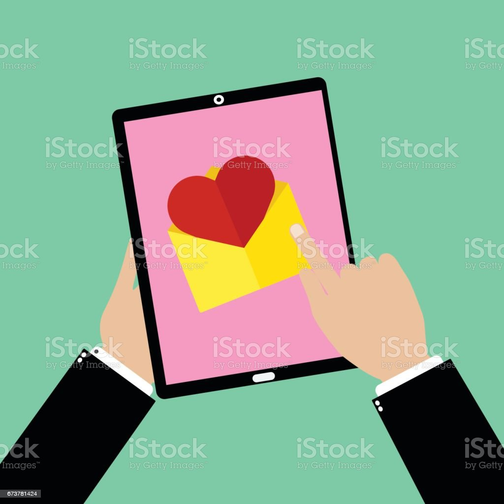Business man hand holding a tablet smartphone with point and touching an love email. Vector illustration flat design valentine day love concept. vector art illustration