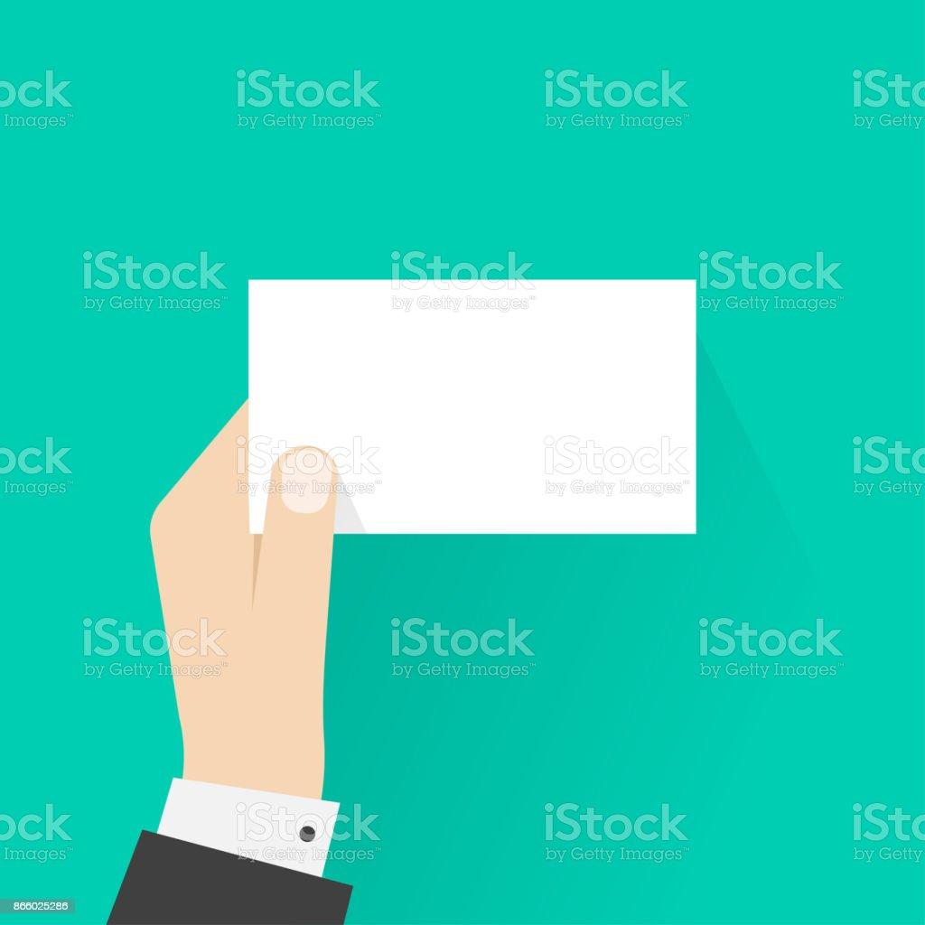 business man hand holding card mockup template vector illustration
