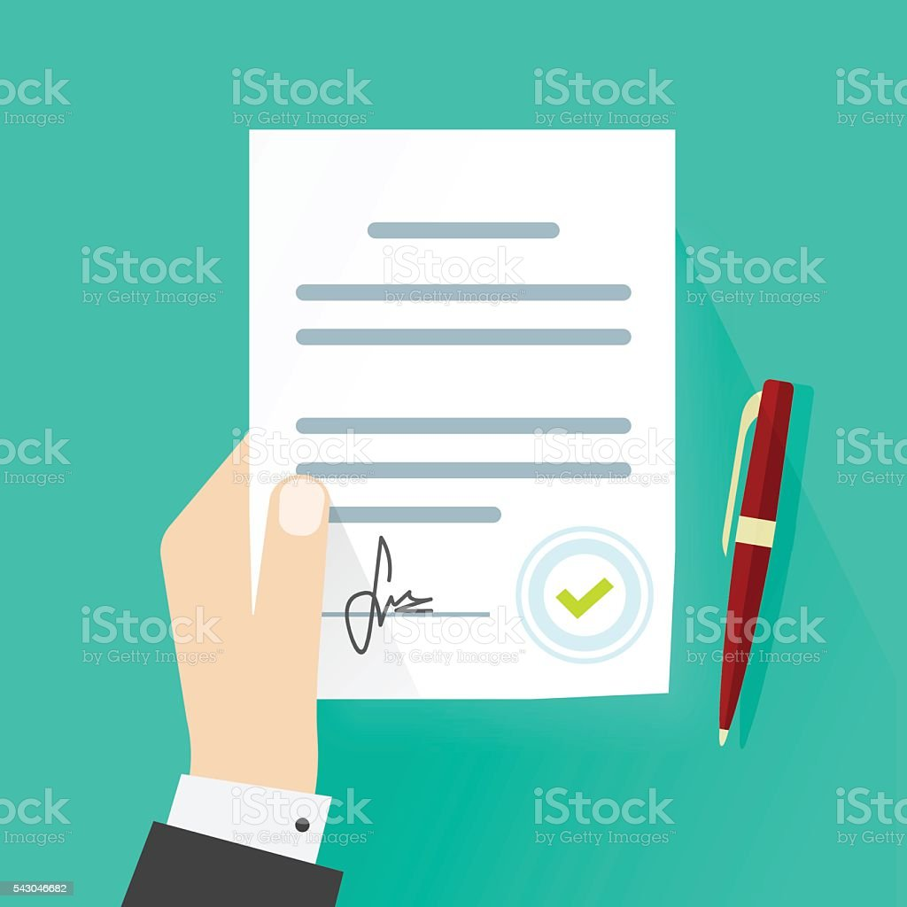 Business man hand holding legal contract document agreement signature vector vector art illustration