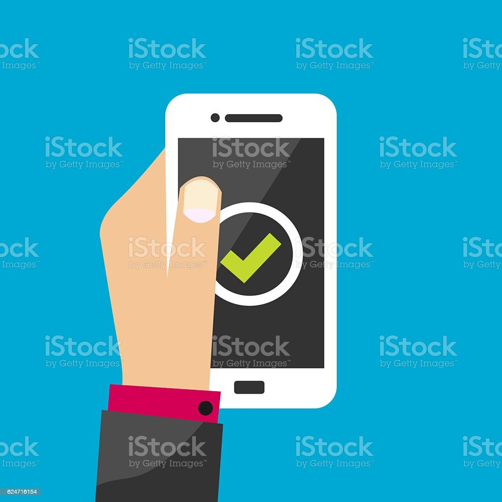 Business Man Hand Holding White Smartphone With Green Approval Symbol vector art illustration