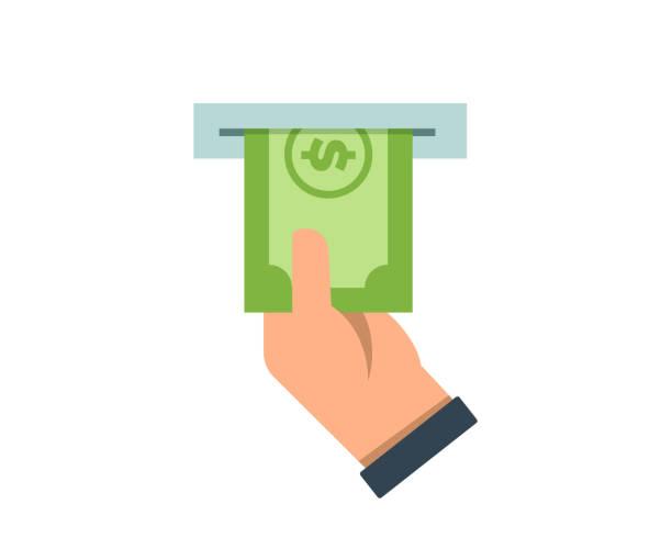 business mann hand geld vom geldautomaten abheben. vektor-symbol-konzept für geld und finanzen - geldautomat stock-grafiken, -clipart, -cartoons und -symbole