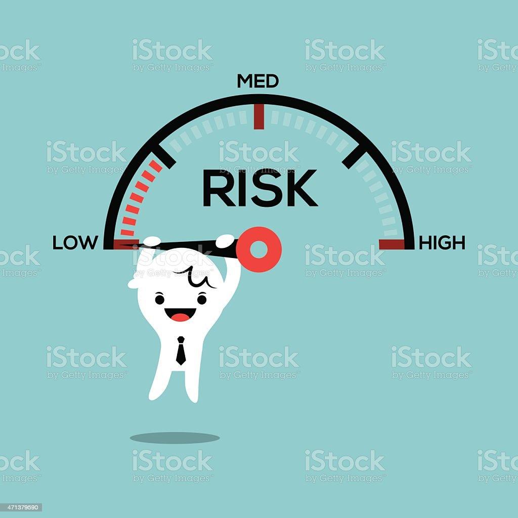 business man hanging on speed gauge risk management conceptual illustration royalty-free business man hanging on speed gauge risk management conceptual illustration stock illustration - download image now