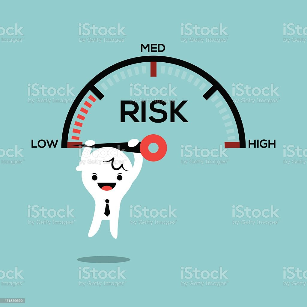 business man hanging on speed gauge risk management conceptual illustration vector art illustration