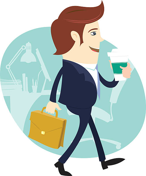 Business Man Happy Worker Walking Holding Coffee And Briefcase Clip Art Vector Images Illustrations