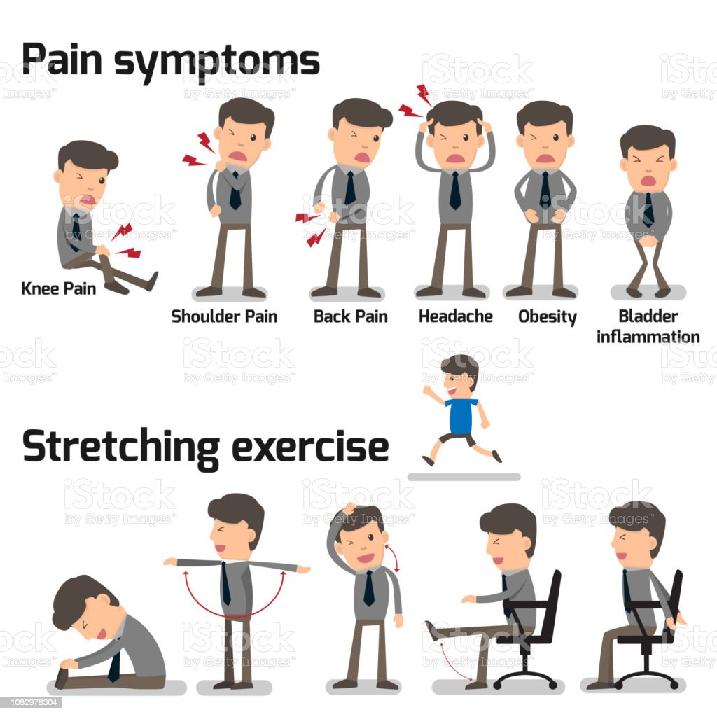 Business Man Have Office Syndrome Symptoms And Effect To