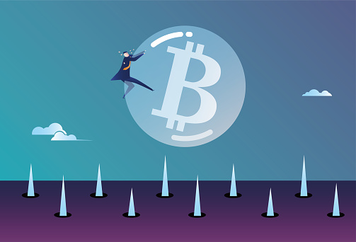 A business man holding a bitcoin bubble is about to fall on the ground full of thorns, the bubble economy