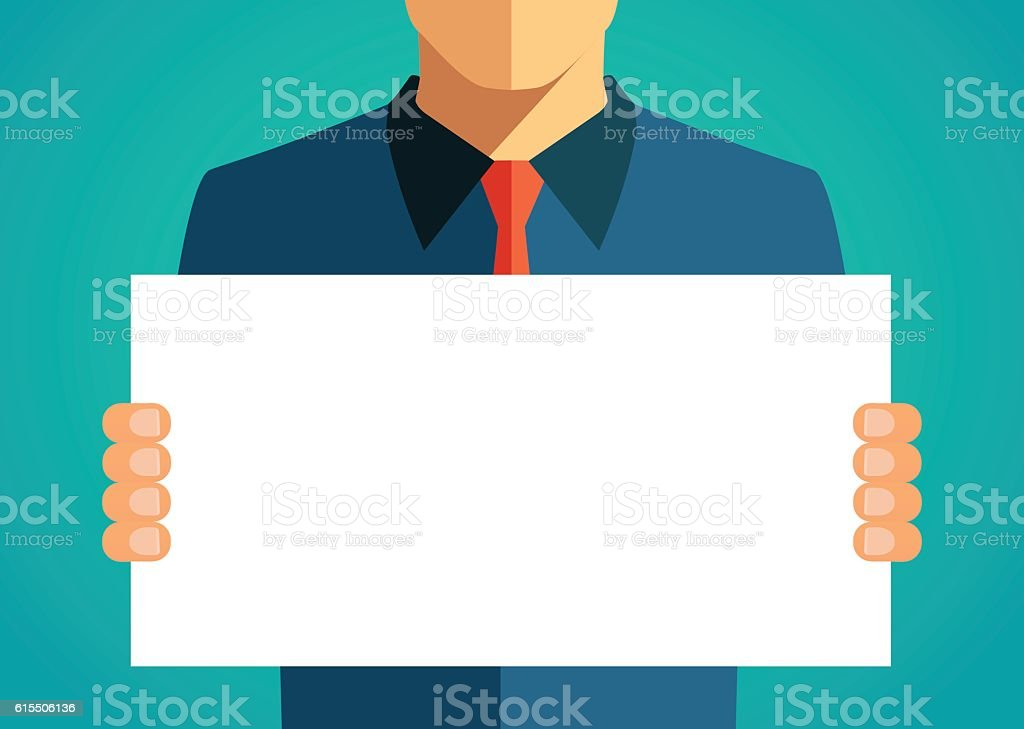 Business man holding a blank banner. Vector illustration vector art illustration