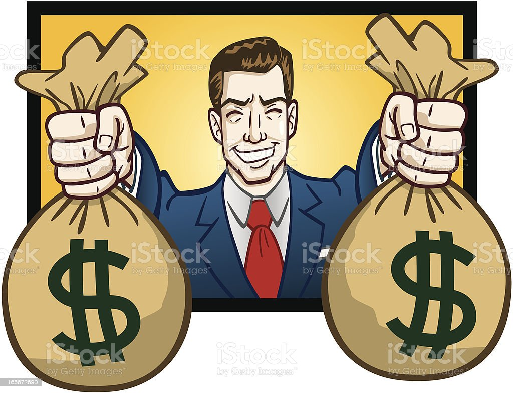 Business Man Holding Bags of Cash royalty-free stock vector art