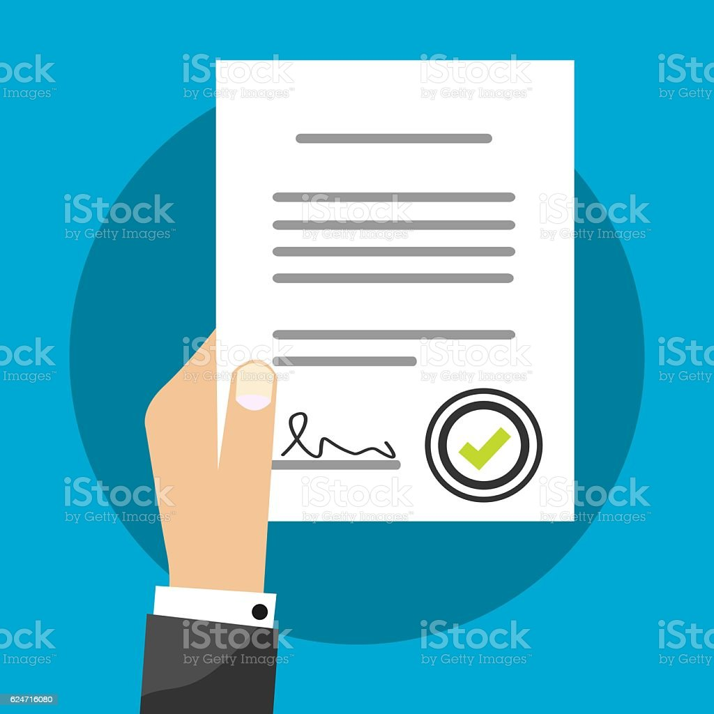 Business Man Holding Contract Agreement Vector Illustration Signed Treaty Paper vector art illustration
