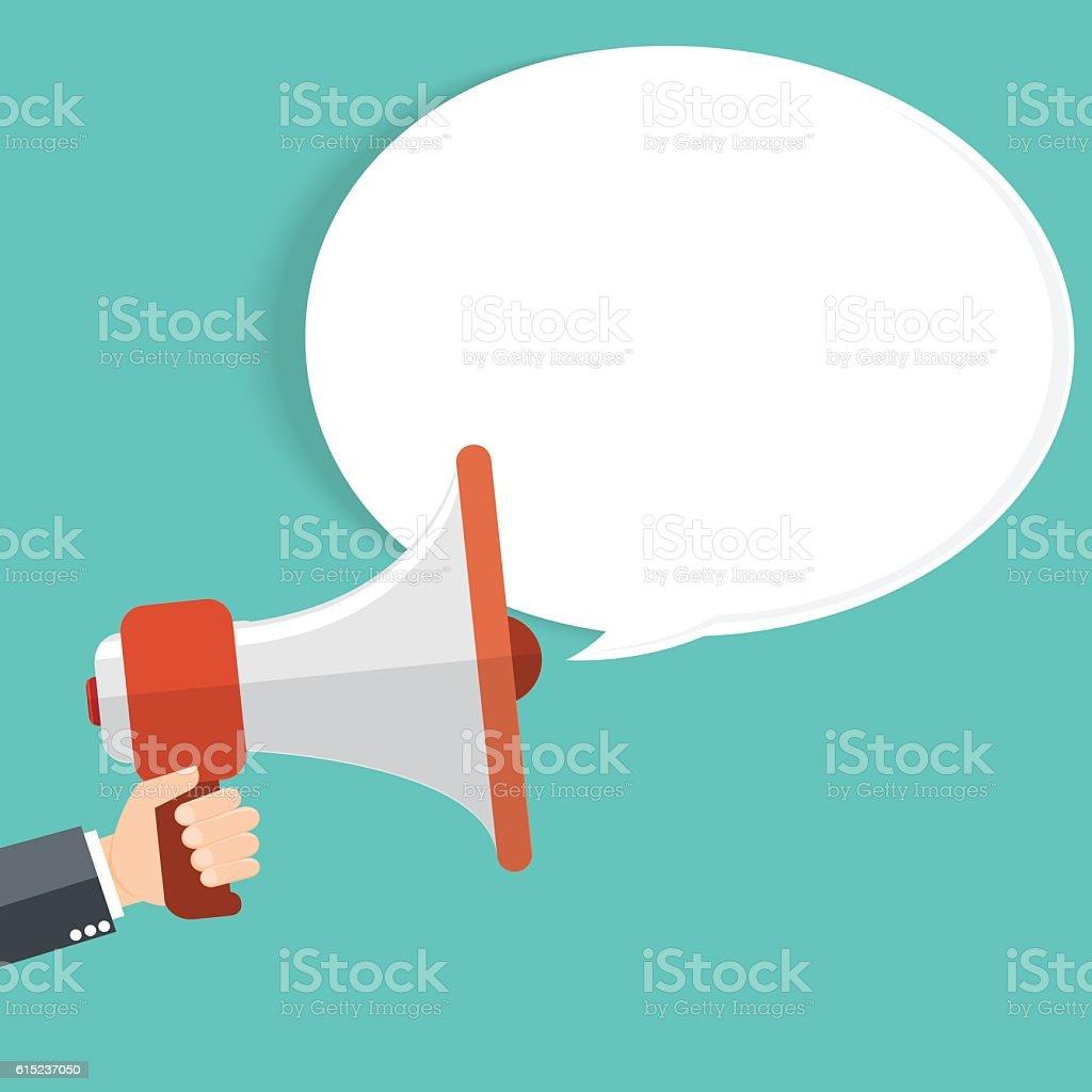 business man holding megaphone vector art illustration