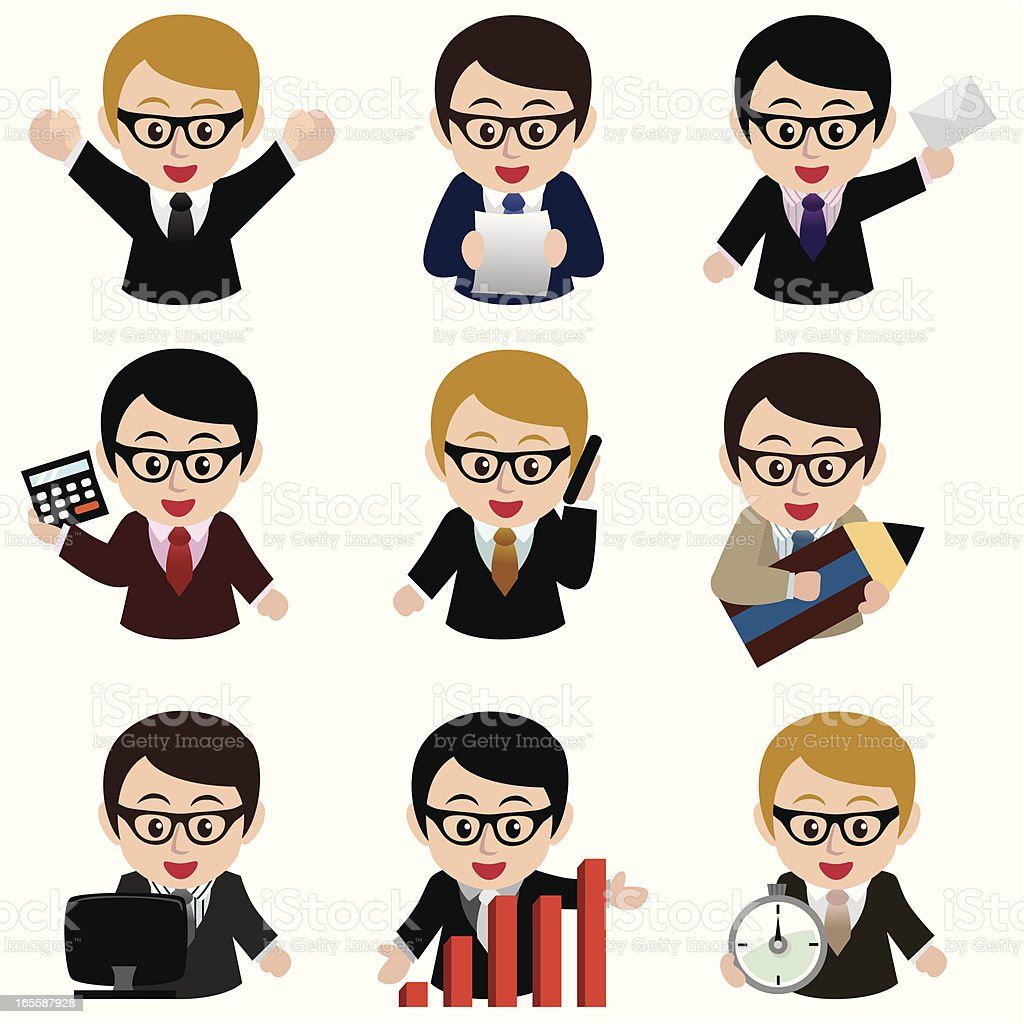 business man icon set royalty-free stock vector art
