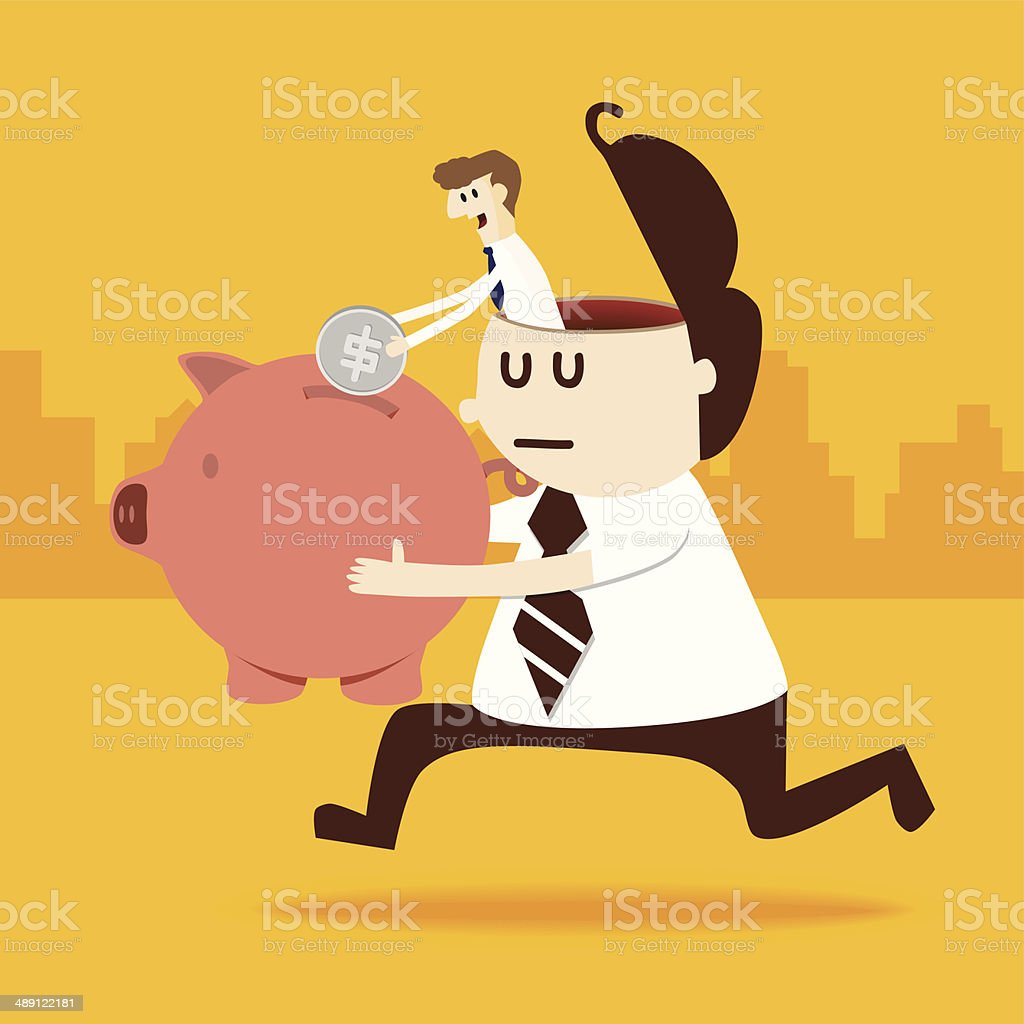 Business man in a man put coin into piggy bank royalty-free stock vector art
