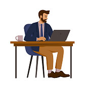 Business man in a suit sitting at the table with a laptop in the office. Manager, office worker. Vector illustration in cartoon style, isolated image
