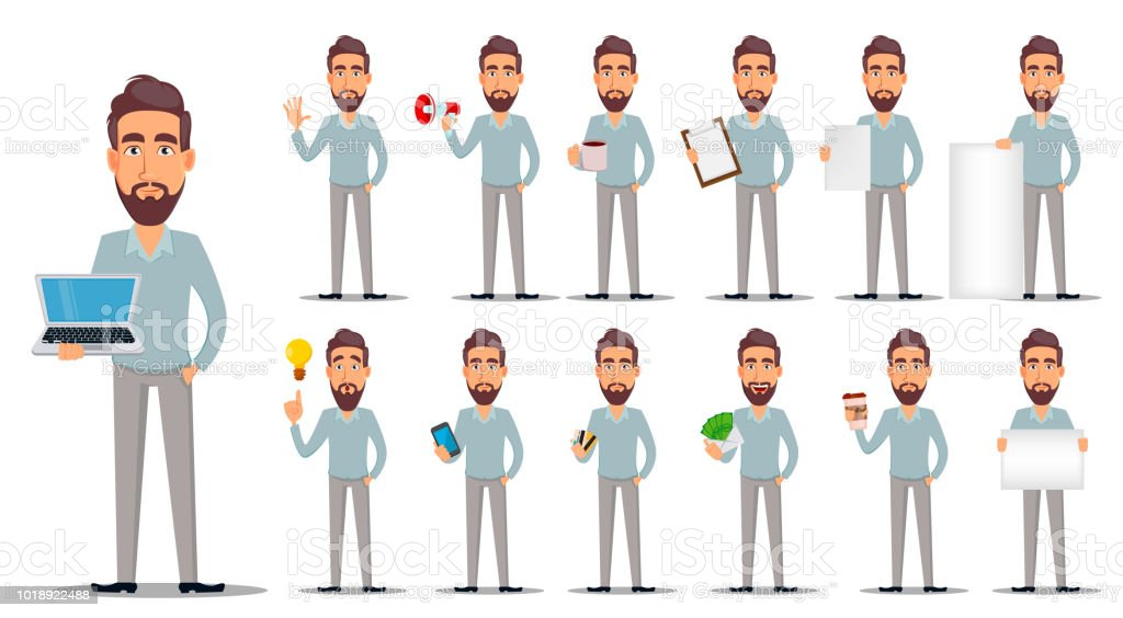 Business man in casual clothes vector art illustration