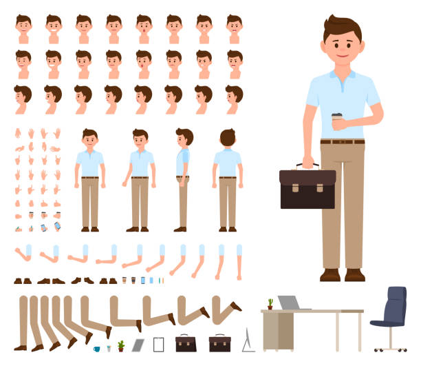 ilustrações, clipart, desenhos animados e ícones de homem de negócios no escritório casual olhar conjunto de criação de personagem. kit construtor vector para gerenciador de estilo de desenhos animados - landscape creation kit