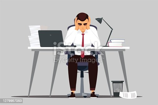 istock Business man in crisis at office. Businessman in fear reacts to failure or news at work. Finance disaster in business, employee scared of bankruptcy and losing money vector illustration 1279957053