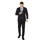 Business man in dark suit walking and writing message on mobile phone, abstact vector illustration