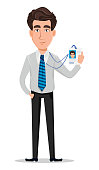 Business man in office style clothes. Businessman, banker, manager, cartoon character holding badge. Vector illustration