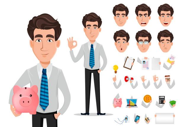 illustrazioni stock, clip art, cartoni animati e icone di tendenza di business man in office style clothes - bello