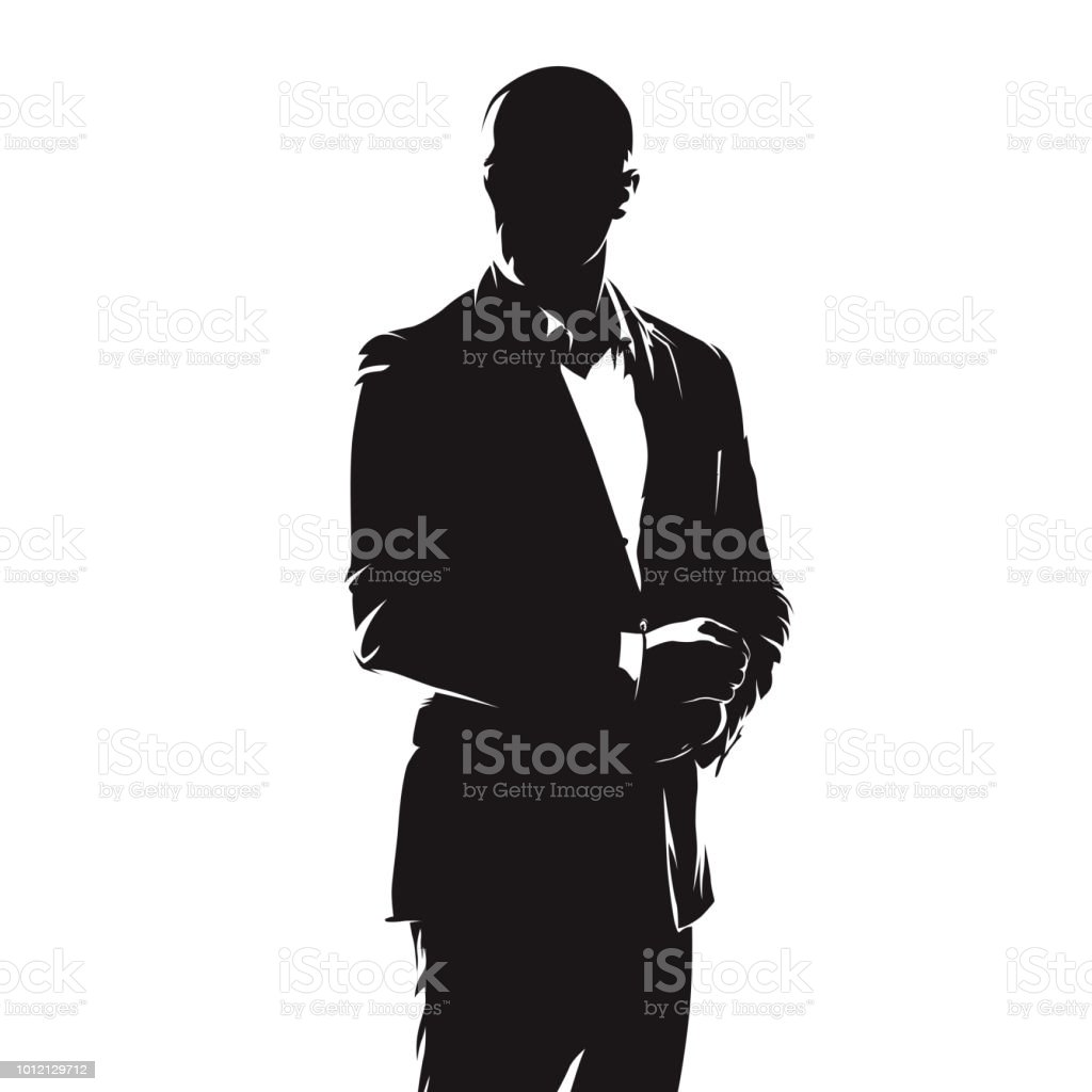 Business man in suit, abstract comics ink drawing, isolated vector silhouette. People