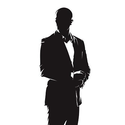 Business Man In Suit Abstract Comics Ink Drawing Isolated Vector Silhouette People - Immagini vettoriali stock e altre immagini di Abbigliamento da lavoro