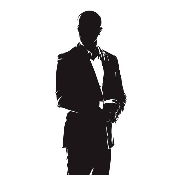 Business man in suit, abstract comics ink drawing, isolated vector silhouette. People vector art illustration