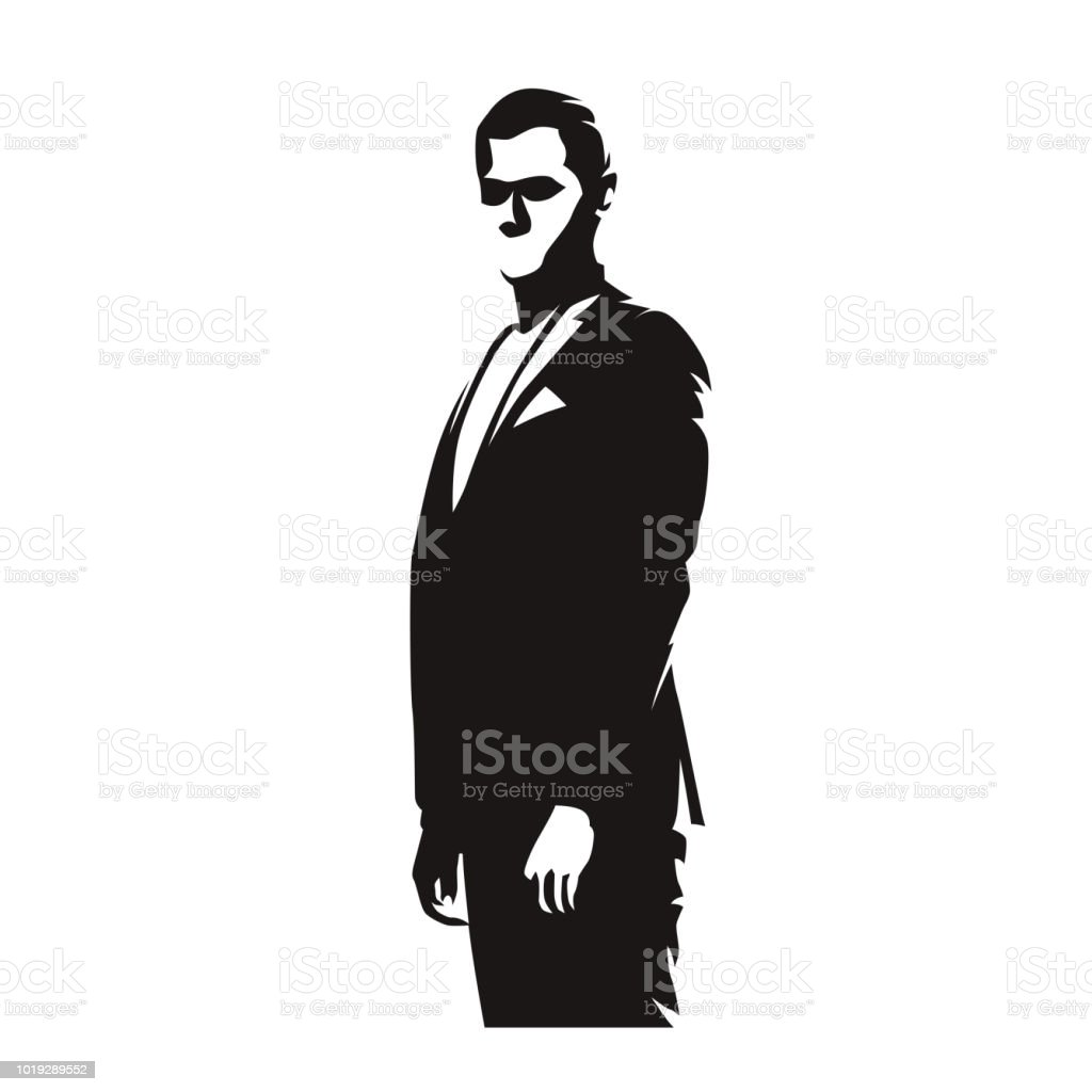 Iş Adamı Takım Elbiseli Soyut çizgi Roman çizim Izole Vektör Siluet