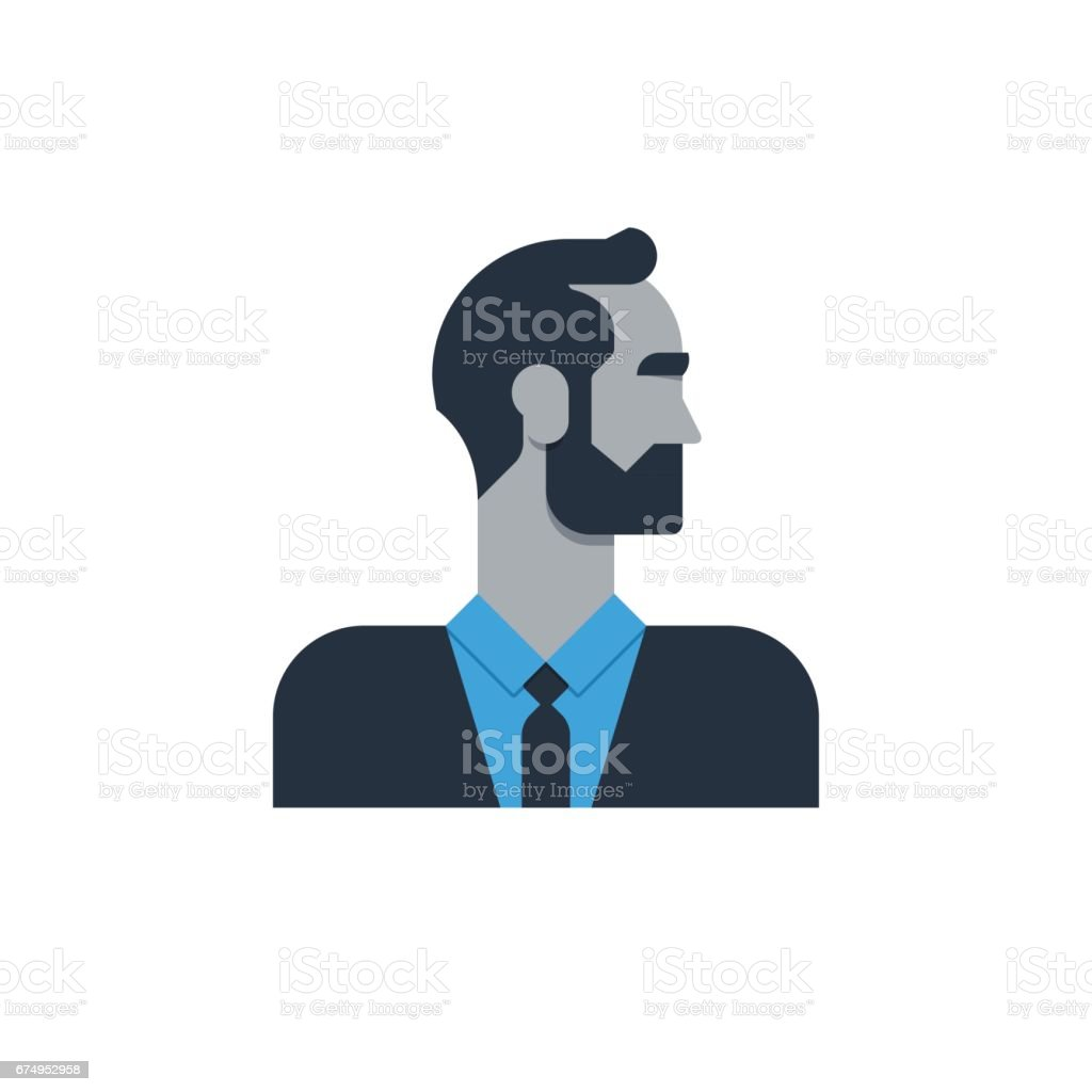 Business man in suit, side view, tured head, office worker, manager vector art illustration