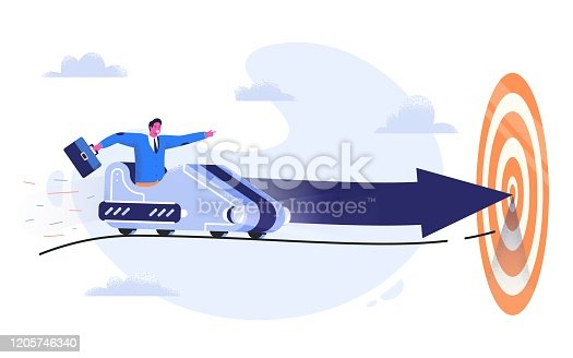 Business man in suit with case riding a roller coaster with arrow to the goal. Entrepreneur going to his aim in the trolley wagon with strong intention. Way to success and achieve the target concept.