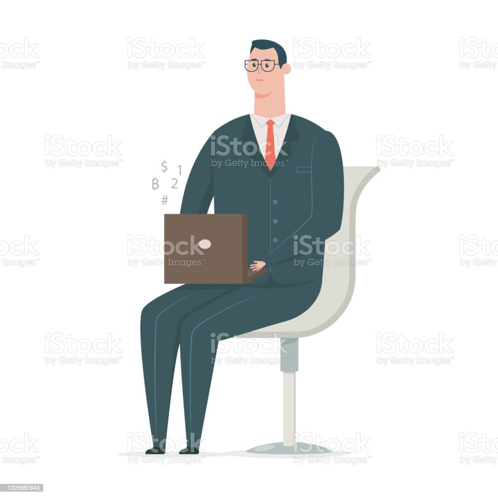 Business Man In Suit Working On Laptop And Sitting In Chair Vector Flat Cartoon Office Worker Character Isolated On White Background Stock Illustration Download Image Now Istock
