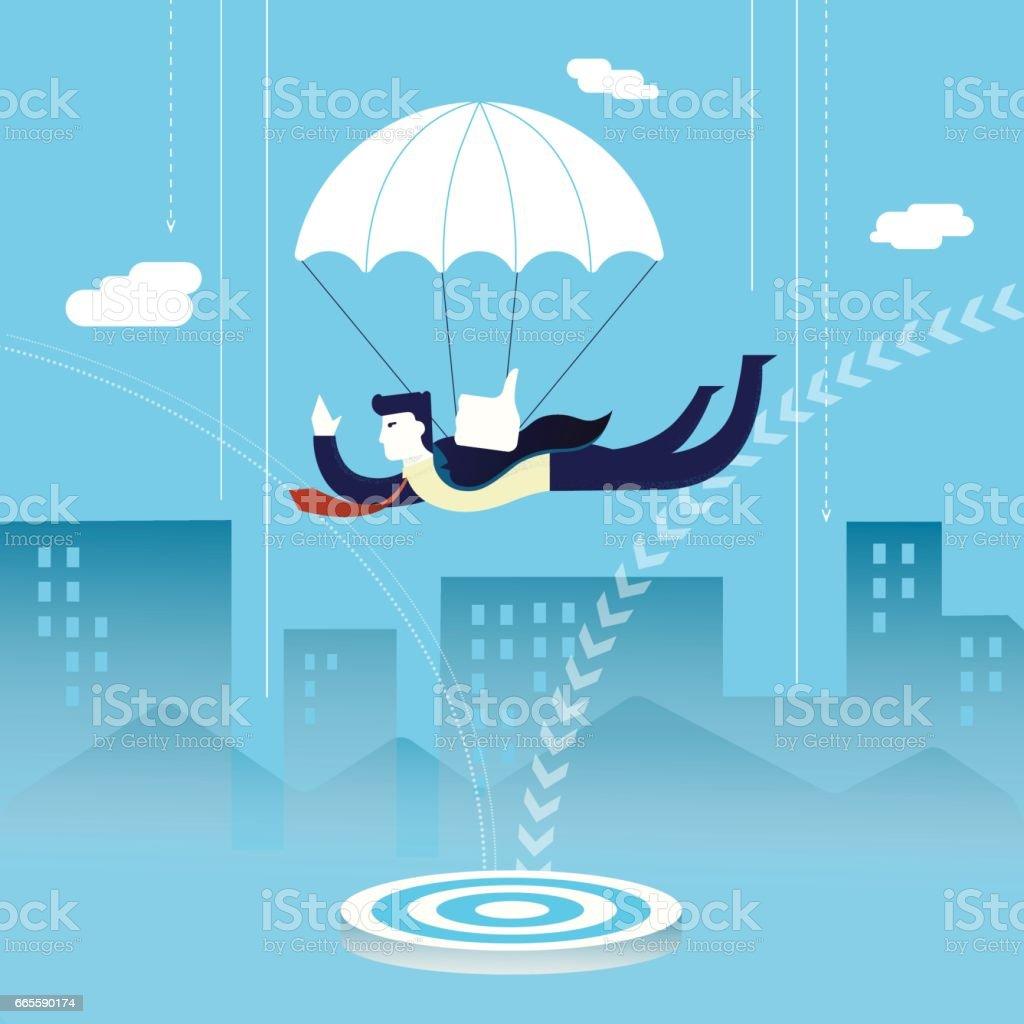 Business man investor skydiving concept vector art illustration