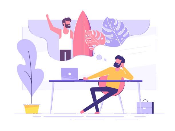 ilustraciones, imágenes clip art, dibujos animados e iconos de stock de el hombre de negocios es relajante y sueña con el surf y las vacaciones en una isla tropical en su lugar de trabajo. moderno interior de oficina. concepto de negocio. ilustración vectorial. - soñar despierto