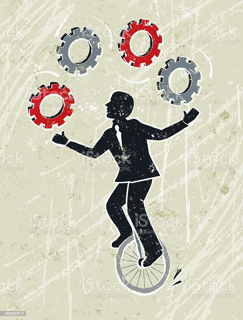 Business Man Juggling Cog Wheel Gears Whilst Riding a Unicycle vector art illustration