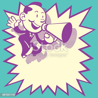 Retro Style of cute business man jumping and shouting with with a speaker. Come with a big star shape speech bubble for text area.