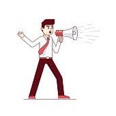 Businessman shouting through megaphone. Man wearing shirt with a megaphone. Inspiring leadership presentation speech. Modern flat style thin line vector illustration isolated on white background