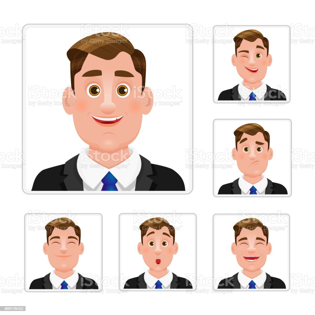 Business man male emotions set vector art illustration
