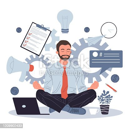 Business man meditating and relaxing in lotus position vector illustration. Office man practicing stress relief at workplace. Employee practicing mindfulness meditation and yoga in noisy office