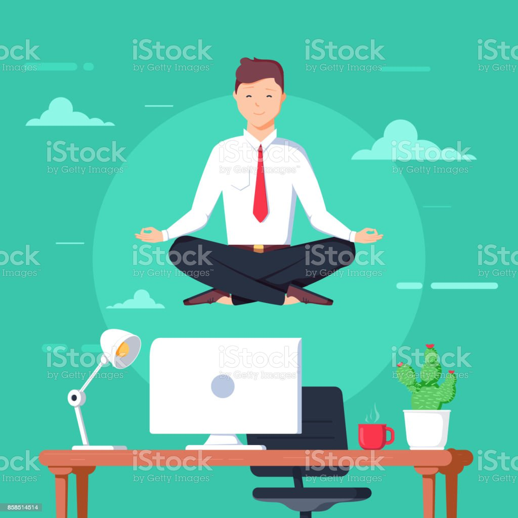 Business man meditating in lotus pose over table in office room. Boss doing yoga and get calm at workplace. vector art illustration