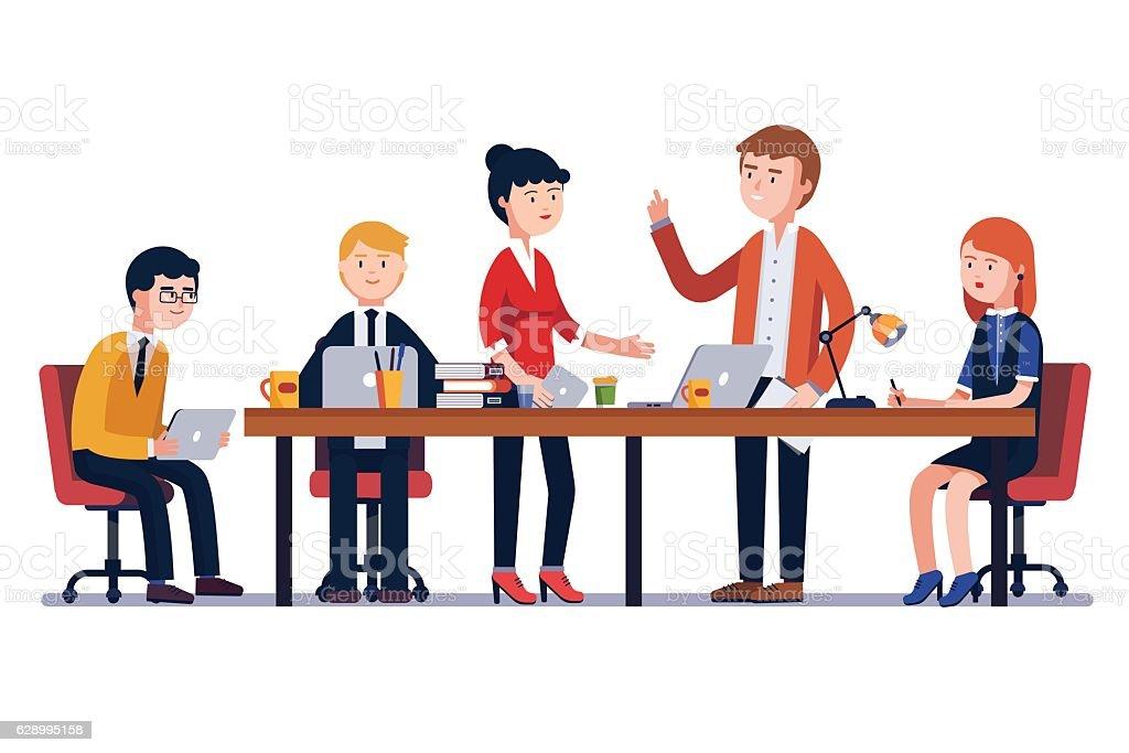 Business man meeting at a big conference desk royalty-free business man meeting at a big conference desk stock illustration - download image now