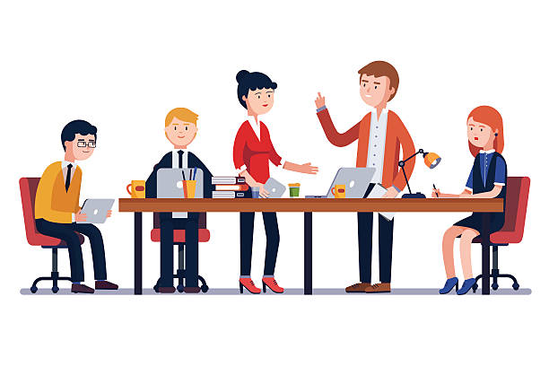 business man meeting at a big conference desk - cartoon people stock illustrations, clip art, cartoons, & icons