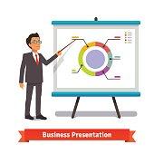 Business man mentor delivering presentation speech