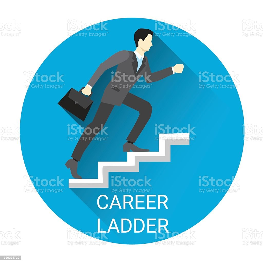 Business Man Moving Up Career Ladder Icon royalty-free business man moving up career ladder icon stock vector art & more images of adult